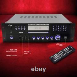 4 Channel Pre Amplifier Receiver 1000 Watt Compact Rack Mount Home Theater Ste