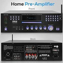 4 Channel Pre Amplifier Receiver 1000 Watt Rack Mount Bluetooth Home