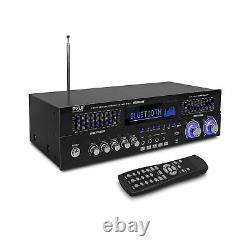 Pyle PREA86BTH Desktop Stereo Professional Hybrid Pre Amplifier Receiver, Black