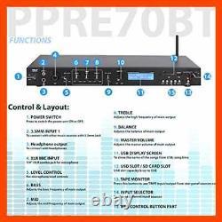 Rack Mount Studio Pre Amplifier Audio Receiver System WithDigital LCD Display Blue