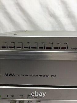 Vintage Aiwa Mini 3 Piece Stereo C50 P50 R50 Amplifier Pre Amp Tuner Receiver
