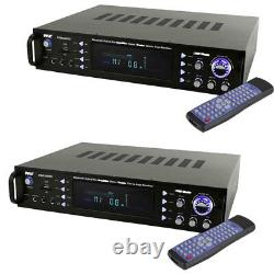 Pyle Home Theater Bluetooth Hybrid Pre Amplificateur Stereo Receiver System (2 Pack)