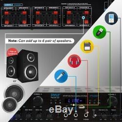 Pyle Pta66bt 6 Ch. Amplificateur Audio Bluetooth 600w Système Récepteur Avec Radio Fm