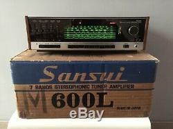 Rare Sansui 600l 7 Bandes Stereophonic Amplificateur Receiver Révisé Garantie 3 Mois
