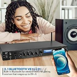 Système De Récepteur Audio Pré-amplificateur Pyle Rack Mount Studio Avec Lecteur LCD Numérique